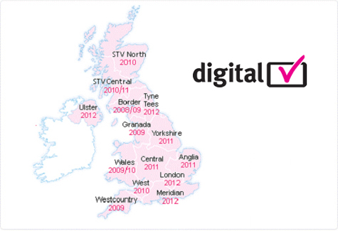 this map shows when digital switchover is taking place